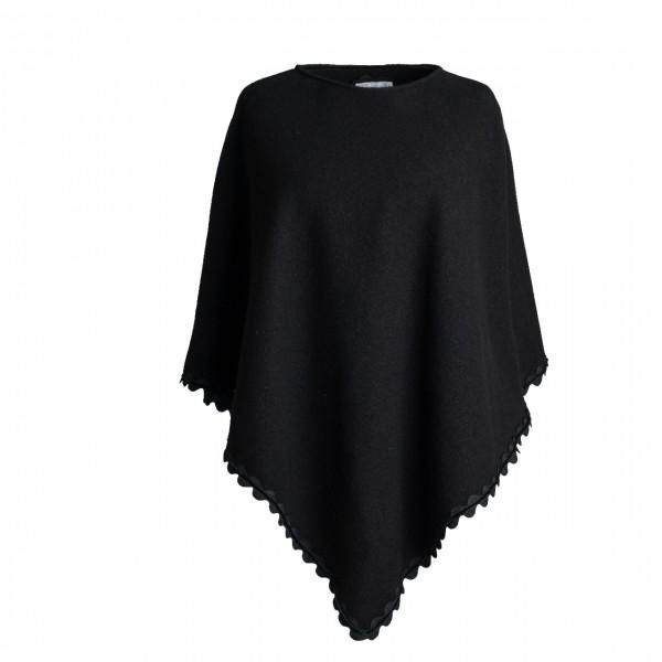 Poncho in schwarz mit Wellenkante Schurwolle