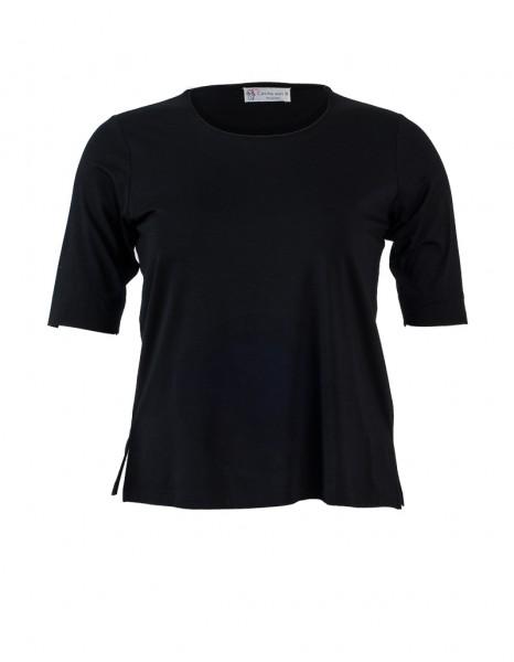 Schwarzes Shirt mit doppellagiger Front