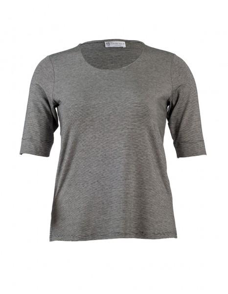 Marine-Ecrue Ringel-Shirt mit doppelter Front