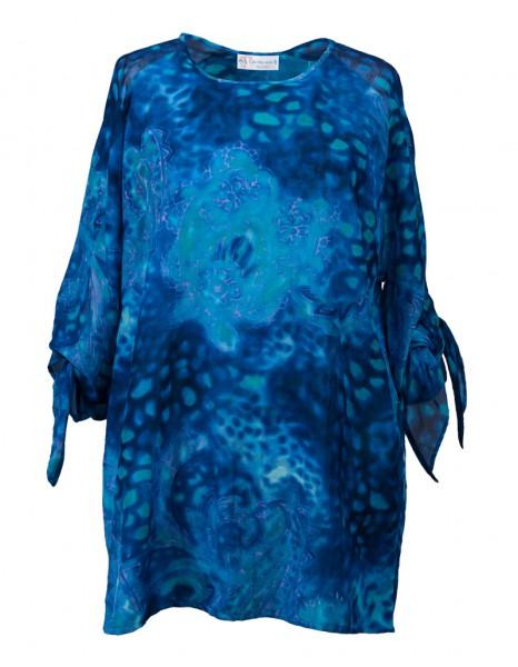 Royalfarbige Batikdruck-Bluse mit knotbaren Ärmel