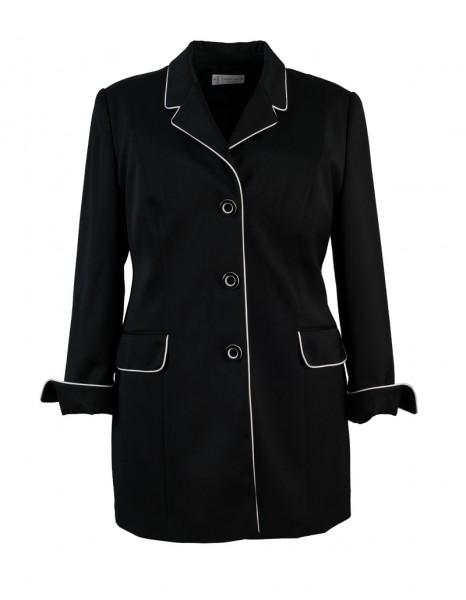 Schwarzer Trendlook-Blazer mit weißer Pasel