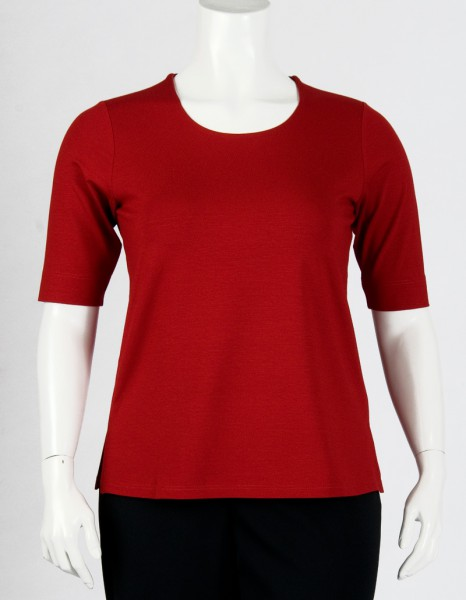 Rotes Shirt mit doppellagiger Front in Plussize