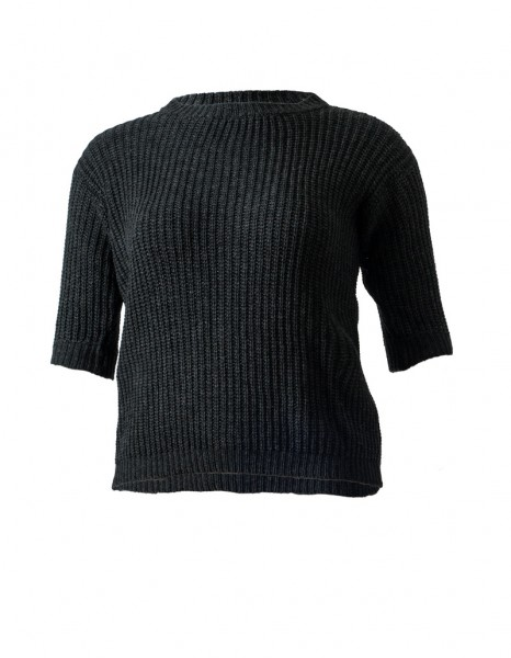 Halbarm-Pullover aus Cashmere-Mix in anthrazit