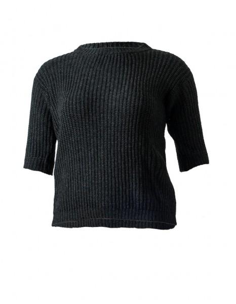 Halbarm-Pullover aus Cashmere-Mix in anthrazit