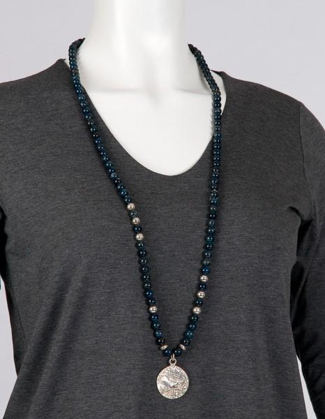Halskette - Dumortierit mit rgroßer ömischer Münze