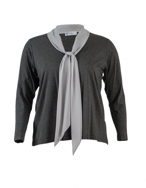 Damen-Shirt mit Schluppe in grau