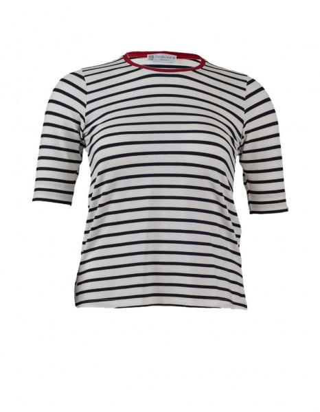 Shirt marine-weiß geringelt und roter Kontrastblende