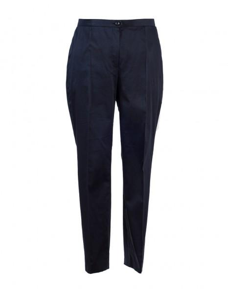 Edel glänzende dunkelblaue Baumwoll-Strech-Hose