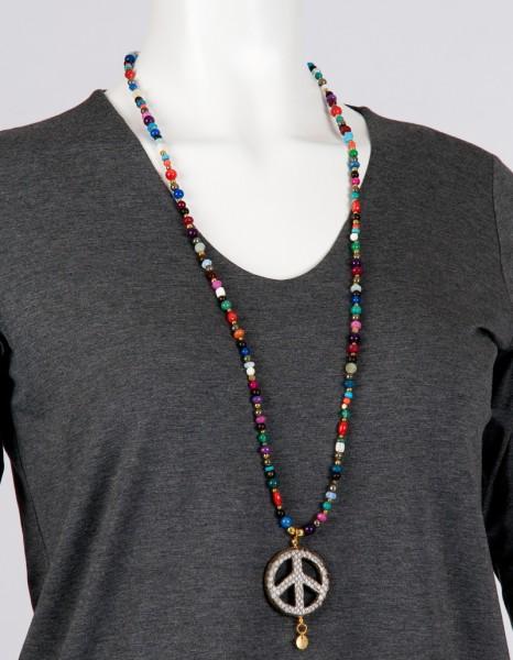 Halskette - Happy Hippie .- bunte Steine mit Peace-Zeichen