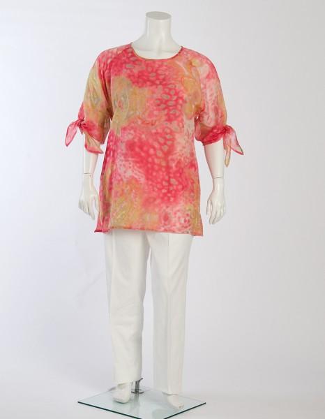 Rosefarbige Batikdruck-Bluse mit knotbaren Ärmel