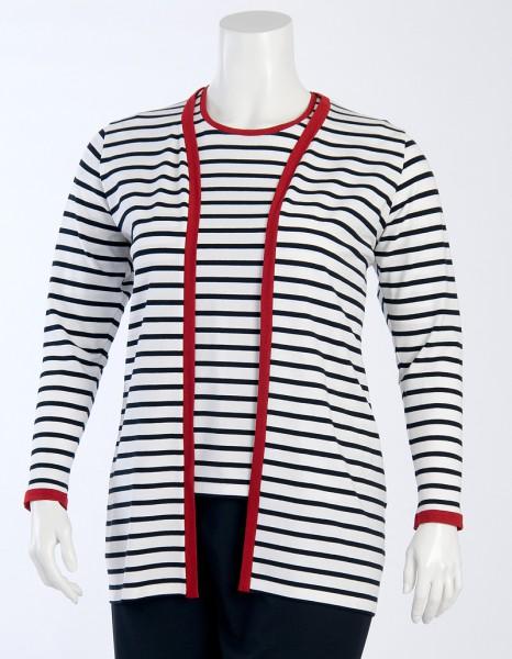 Jacke marine-weiß geringelt und roter Kontrastblende