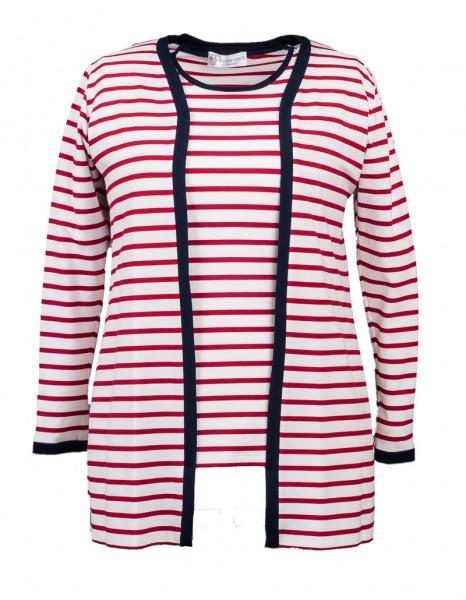 Jacke rot-weiß geringelt und blauer Kontrastblende