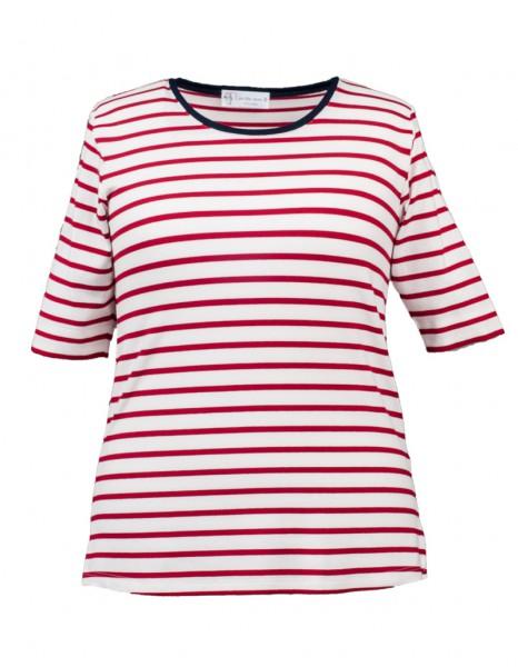 Shirt rot-weiß geringelt und blauer Kontrastblende